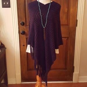 Hardly-worn purple poncho sweater